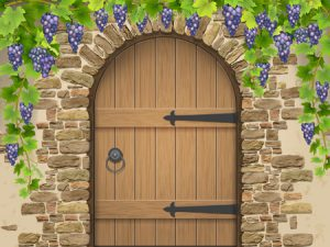 56351159 - entrance to the wine cellar decorated with bunches of grapes. arch of stone wooden door and vine grapes. vector illustration about winemaking and viticulture, grape growing.